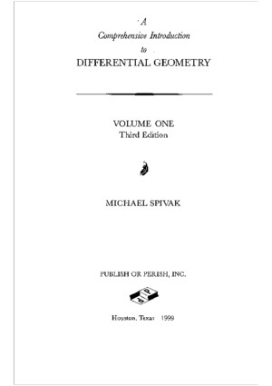 Comprehensive introduction to differential geometry pdf