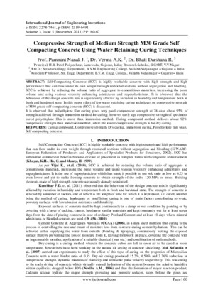 Compressive Strength of Medium Strength M30 Grade Self Compacting Concrete Using Water Retaining Curing Techniques