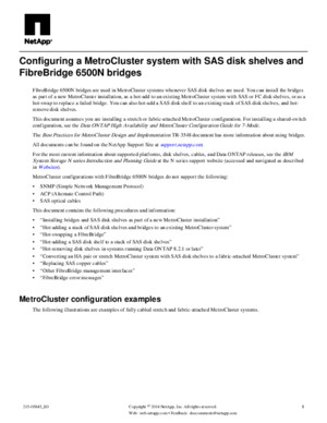Configuring a MetroCluster System With SAS Disk