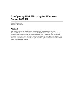 Configuring Disk Mirroring for Windows Server 2008 R2