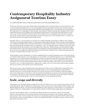 Contemporary Hospitality Industry Assignment Tourism Essay
