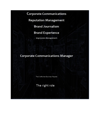Corporate Communications Reputation Management Brand Journalism Brand Experience Impression Management