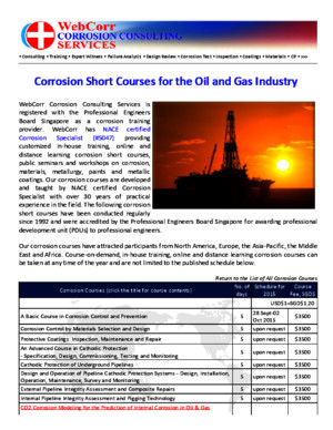 Corrosion Short Courses,Corrosion Training Courses and Corrosion Courses for in-House Training, Online and Distance Learning