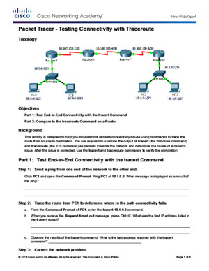 11322 Packet Tracer - Test Connectivity With Traceroute