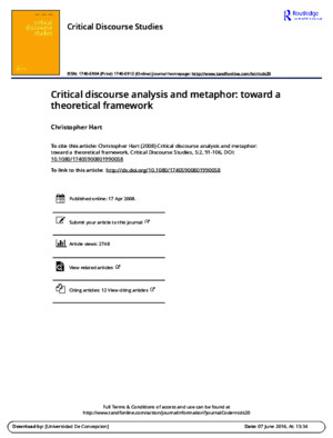 Critical Discourse Analysis and Metaphor Toward a Theoretical Framework