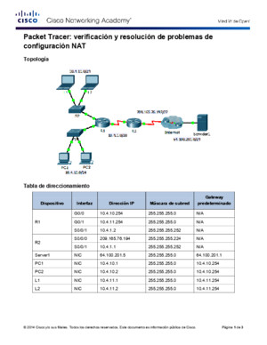 11314 Packet Tracer - Verifying and Troubleshooting NAT Configurations Instructions