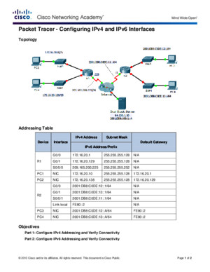 1135 Packet Tracer - Configuring IPv4 and IPv6 Interfaces Instructions