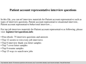 Customer account representative interview questions