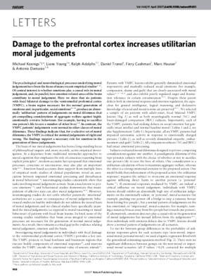 Damage to the prefrontal cortex increases utilitarian moral judgements