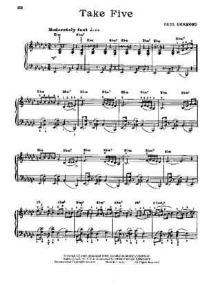 Dave Brubeck Take Five Piano Sheet