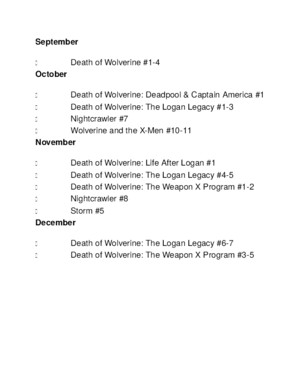 Death of Wolverine Series Checklist