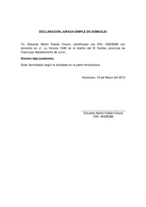 DECLARACIÓN JURADA SIMPLE DE DOMICILIO