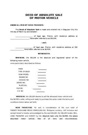 Deed of Absolute Sale of Motor Vehicle