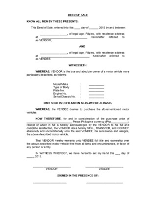 Deed of Sale (Motor Vehicle) Sample