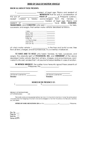 Deed of Sale of Motor Vehicle-template