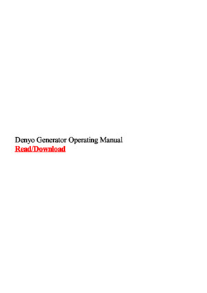 Denyo Generator Operating Manual