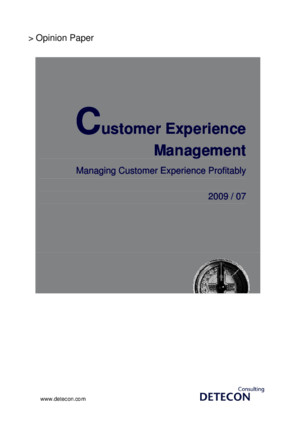 Detecon Opinion Paper Customer Experience Management Managing Customer Experience Profitably