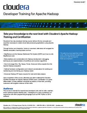 Developer Training for Apache Hadoop