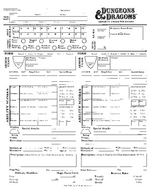 DND Immortals Character Sheet
