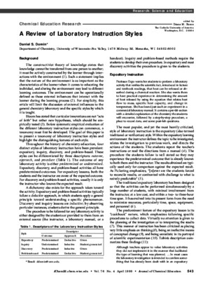 Domin (1999) a Review of Laboratory Instruction Styles