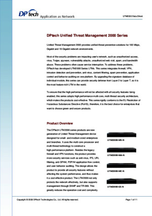 DPtech UTM2000 Series Data Sheet