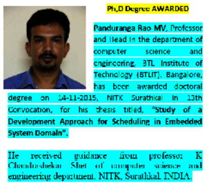 Dr Panduranga Rao MV Awarded PhD Computer Science from NITK Surathkal INDIA, in 13th Convocation