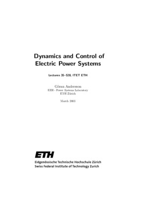 Dynamic Control of Electric Power Systems
