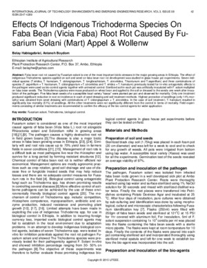 Effects of Indigenous Trichoderma Species on Faba Bean Vicia Faba Root Rot Caused by Fu Sarium Solani Mart Appel Wollenw