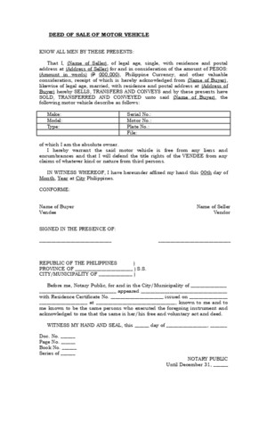 17485874 Deed of Sale of Motor Vehicle Template