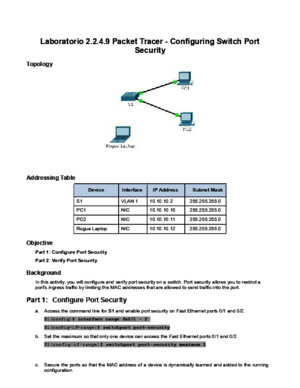 2348 Packet Tracer - Configuring Switch Port Security Instructions - IGdoc