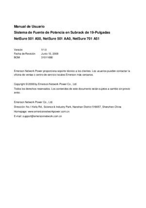 EMERSON User Manual Esp - NetShure 501 A50 and NetSure 701 A51