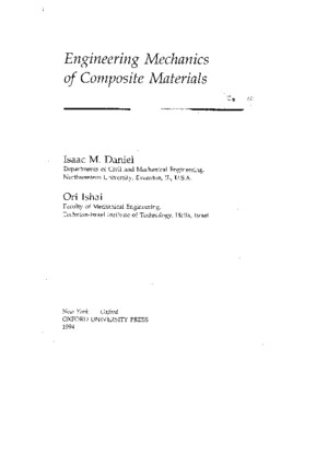 Engineering Mechanics of Composite Materials I Daniel O Isha