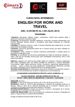 English for Work and Travel (Nivel Intermedio, Cic, Cámara-imf)