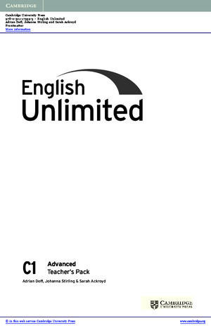 English Unlimited Advanced Teachers Pack Teachers Book With Dvd Rom Frontmatter
