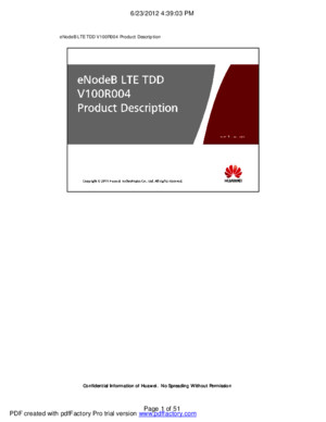 eNodeB LTE TDD V100R004 Product Description ISSUE 100