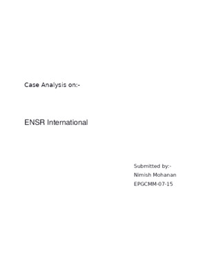 ENSR - Case Analysis