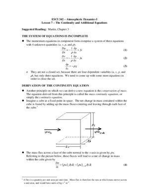 Esci342 Lesson07 Continuity Equation