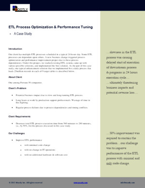 ETL Process Optimization and Performance Tuning Case Study