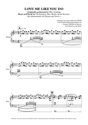 259816772 Ellie Goulding Love Me Like You Do Piano Sheet
