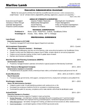 Executive Administrative Assistant in Columbus OH Resume Marilou Lamb