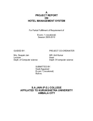 26299255 a Project Report on Hotel Management System