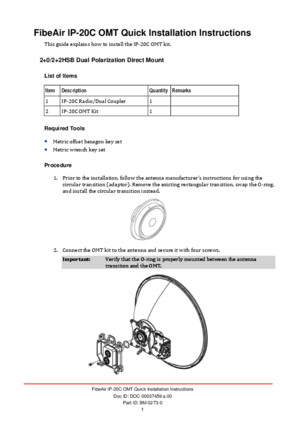 Fibeair Ip-20c Omt Quick Installation Instructions 335930 258