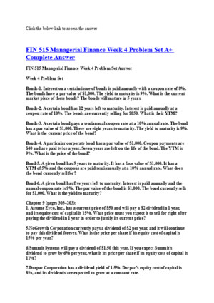 FIN 515 Managerial Finance Week 6 Problem Set