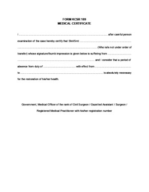 FORM KCSR 189 (Medical Certificate)