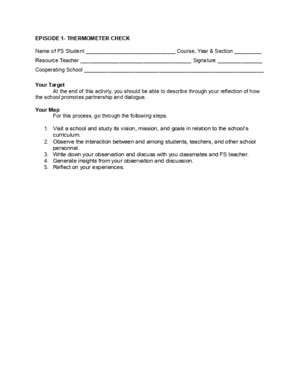 FS 4 Activity Sheets