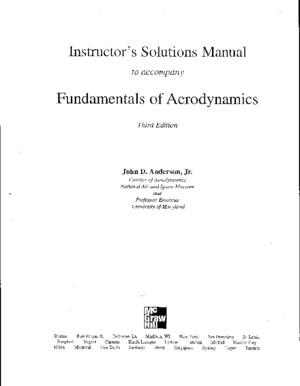 Fundamentals of Aerodynamics John D Anderson Jr Insructor s Solution Manual