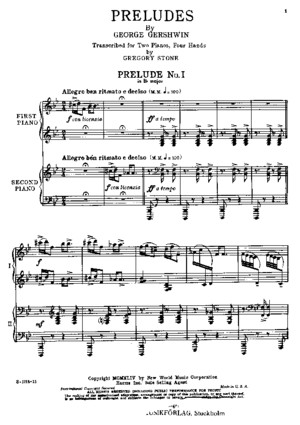 G Gershwin: (Arr Stone) Three Preludes for Piano 4 hands
