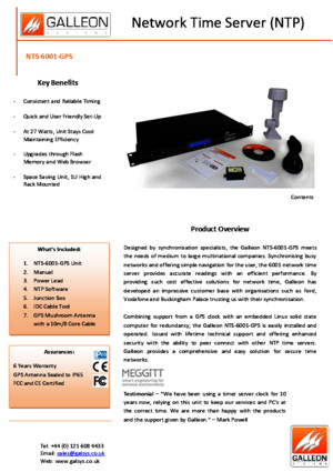 Galleon 6001 GPS Datasheet