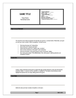 Game Design High Concept Template