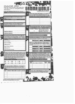 Gamma World Character Sheet